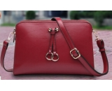 Messenger leather bag with double zipper WS-004