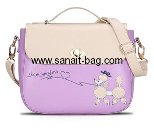Women PU leather messenger bag with contrast color WM-006