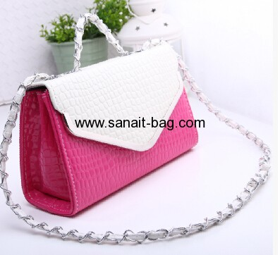 Ladies latest fashion design crocodile PU messenger bag WM-013