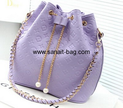 Ladies barrel shape PU tote bag with metal chain puller WT-025