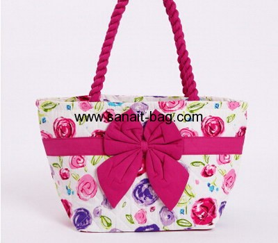 ladies bangkok flower canvas beauty handbag with butterfly tie WT-037