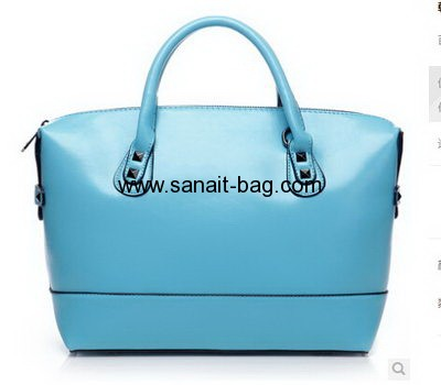 Women shine PU with revit decoration handbag WT-040