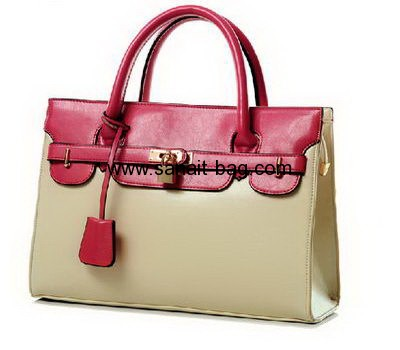 Fashion designer PU leather contrast color hanbags for women WT-062