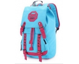 Blue canvas high school students shoulder bag backpack WB-074