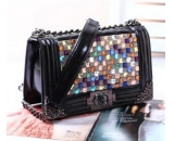 genuine leather diamond lattice chain  cross diagonal shoulder messenger bag MM-041