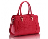 Red crocodile PU leather tote bag WT-170