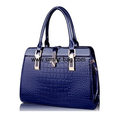 Purple PU leather fashion tote bag for women WT-174