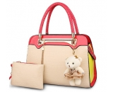 Young ladies contrast PU leather tote handbag WT-178