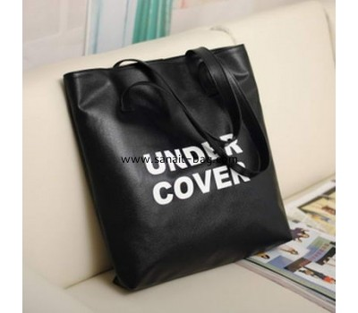 Black PU leather shopping bag for ladies SH-003