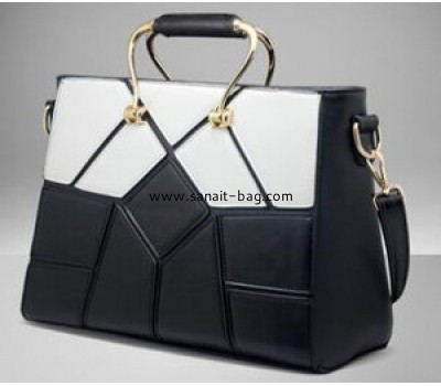 Women black and white PU handbag WT-049