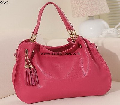 Women leather tote bag with tassels WT-021