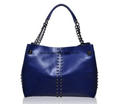 top selling women rivet ornament genuine leather handbag WT-038