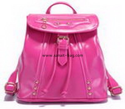 women shining PU leather leisure school double shoulder backpack WB-035