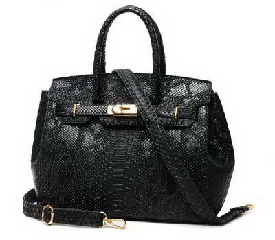 woman leisure black PU leather tote handbag WT-064