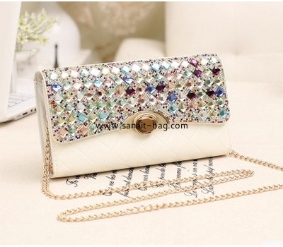 Ladies PU leather fashion design evening bag with chain strap WM-050