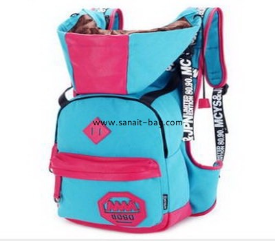 Young ladies canvas school bag travel backpack with cap WB- 083