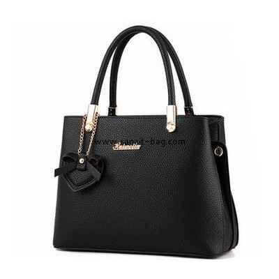 China bag manufacturer customize black pu leather handbags WT-357