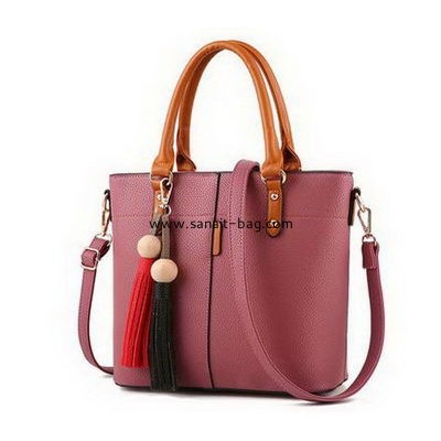 Leather handbag factory customize ladies polyurethane leather handbags  WT-355